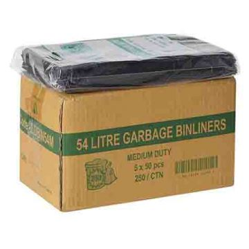 TP 54L MEDIUM DUTY BIN LINER LDPE FLAT SEAL 850x640 250/CTN BLACK