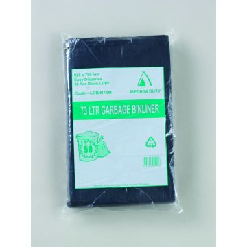 TP 73L MEDIUM DUTY BIN LINER LDPE S/SEAL 920x760 250/CTN BLACK